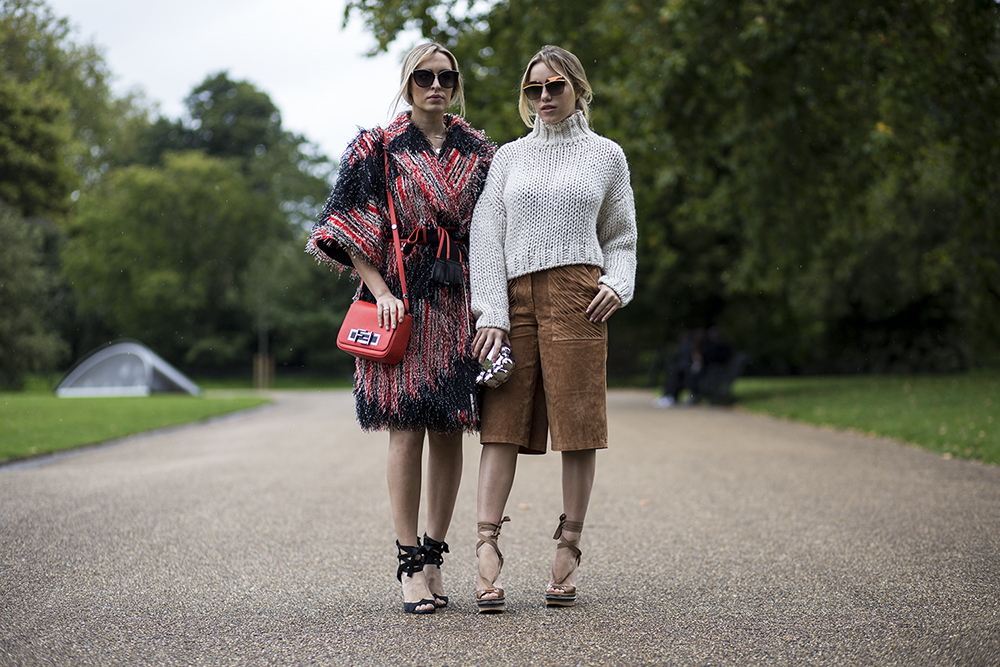 Camila and Martina after Burberry Prorsum show – London
